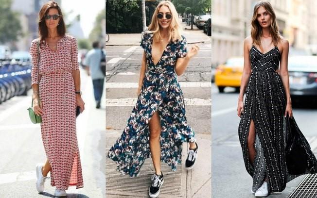 combinar vestidos longos e tênis