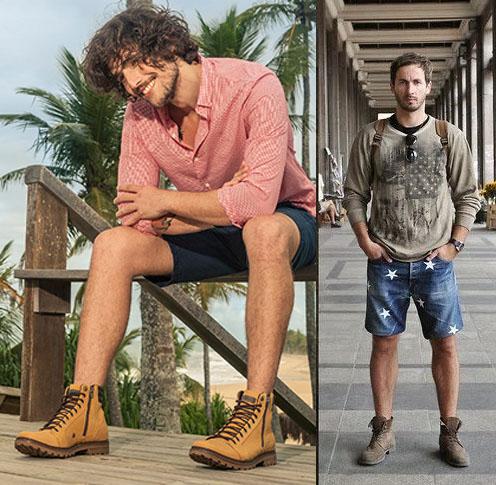 look masculino com bota e bermuda