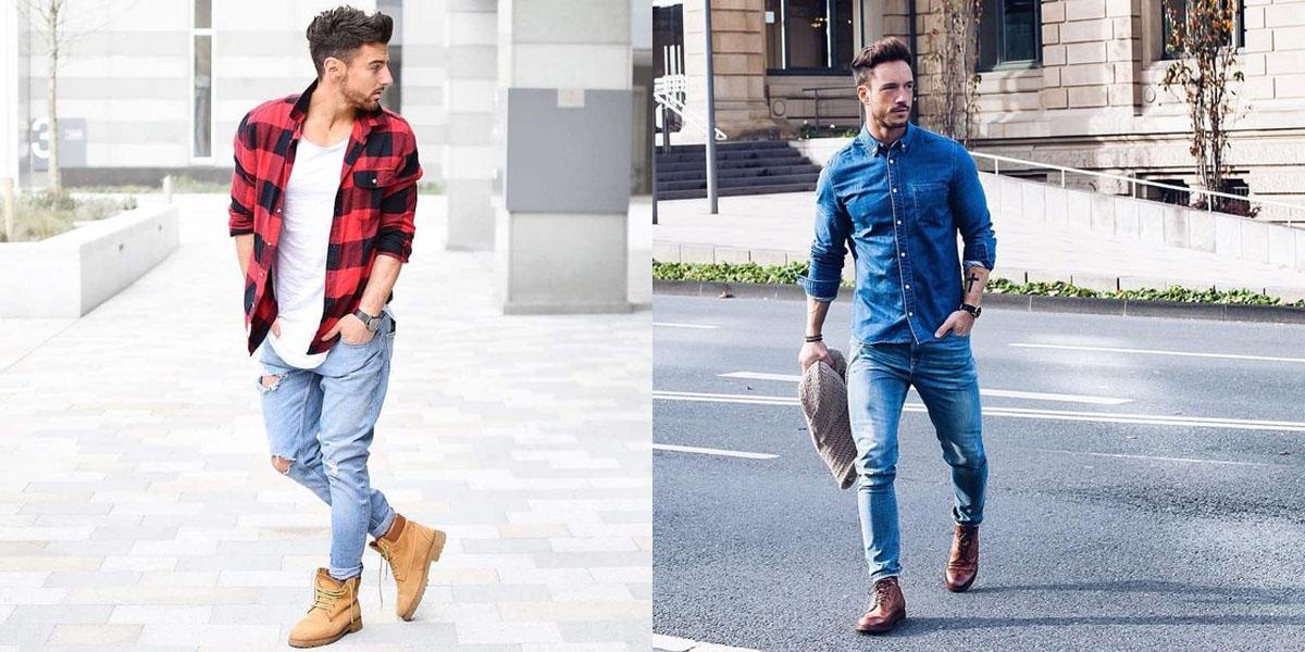 bota masculina e calça jeans