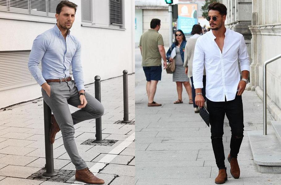 look masculino com bota social